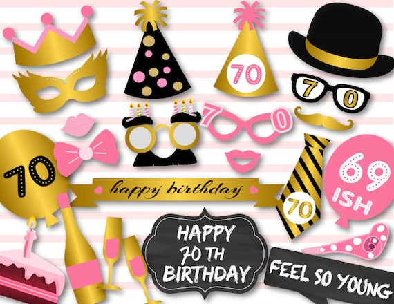 Instant Download 70th Birthday Party Photo Booth Props