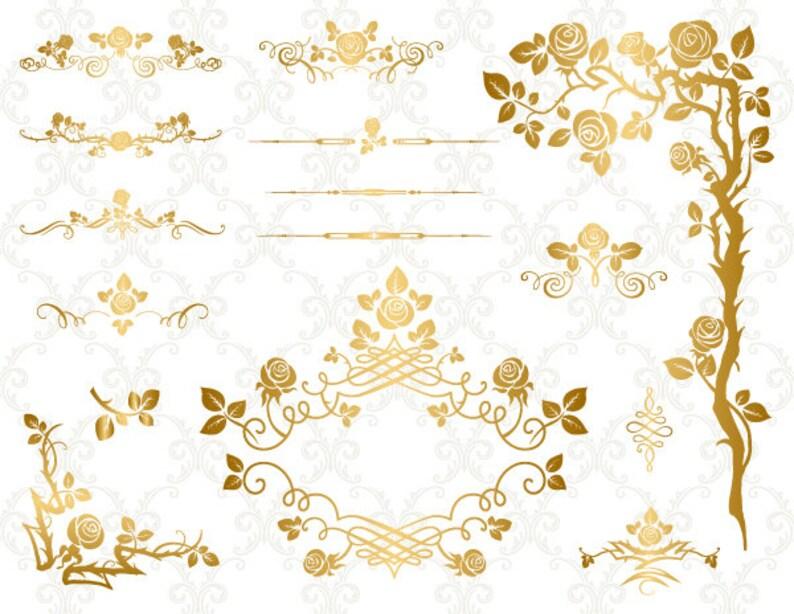 eeadc1e66bcf GOLD Digital Flower Frame Clipart Flourish Swirl Frame Border