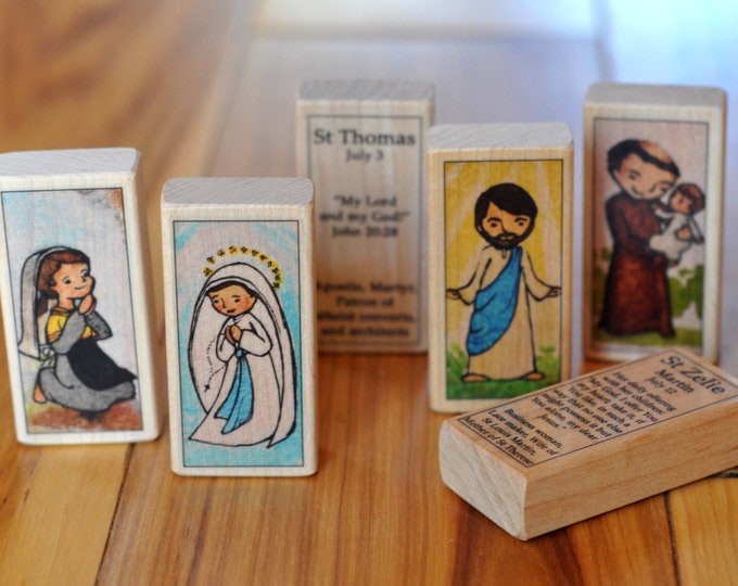 6 Catholic Saint Blocks of your choice (100+ patron saints) // Catholic toys