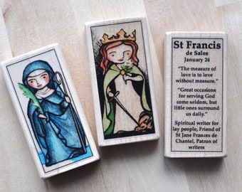 3 Patron Saint blocks of your choice // Catholic gift // Catholic toys by AlmondRod Toys