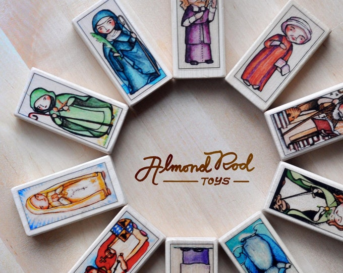 10 Patron Saint Blocks of your choice // 150+ saints to choose from // Catholic Toys by AlmondRod Toys