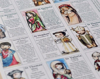 Saint Craft Sheet // 12 Saints per page // decoupage toys // Catholic DIY by AlmondRod Toys
