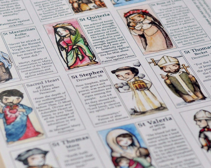 Saint Craft Sheet // 12 Saints per page // decoupage toys // Catholic DIY by AlmondRod Toys