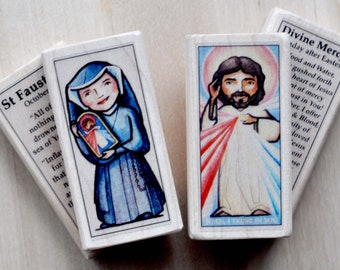 Divine Mercy and St Faustina Saint Blocks // Catholic Toys by AlmondRod Toys