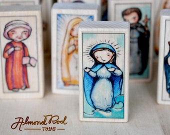 7 Patron Saint Blocks of your choice // 150+ to choose from // Catholic toys by AlmondRod Toys