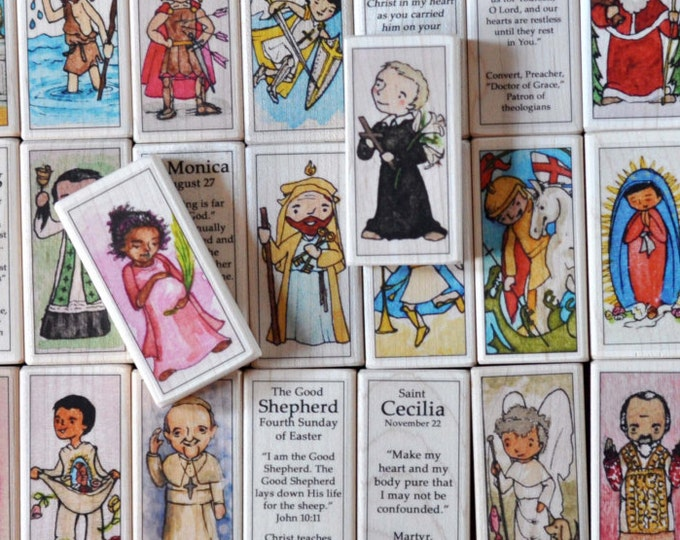 Catholic toy // One Saint Block (100+ to choose from, St Francis, Lucy, St. Christopher, Michael, Therese, Cecilia etc) Catechesis