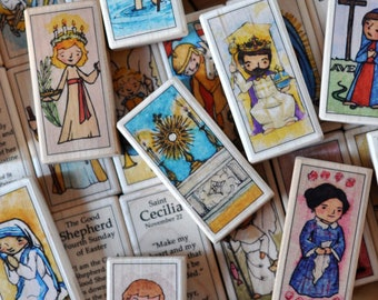12 Patron Saint Blocks of your choice // 150+ Saints to chose from // Catholic toys by AlmondRod Toys