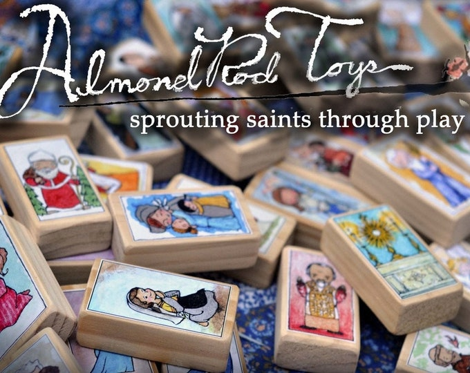 Full Set of 12 Patron Saint Craft Sheets // 144 Saints on 12 sheets // Make your own blocks by AlmondRod Toys
