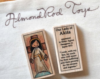 St Mary, Our Lady of Akita Patron Saint Block // Catholic Toys by AlmondRod Toys
