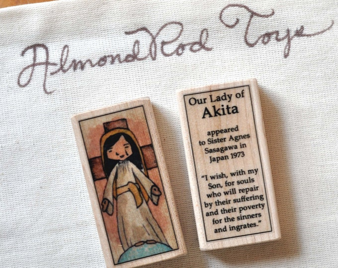 St Mary, Our Lady of Akita Patron Saint Block // Catholic Toys by AlmondRod Toys