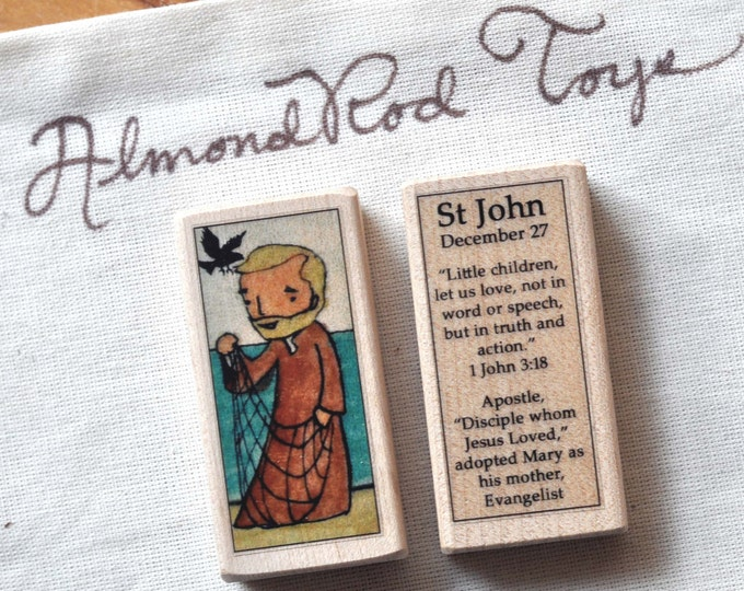 St John the Evangelist Patron Saint Block // Catholic Toys by AlmondRod Toys