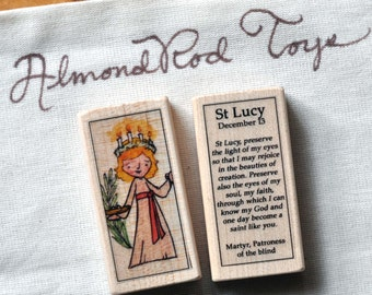 St Lucy Patron Saint Block // Advent // Catholic Toys by AlmondRod Toys