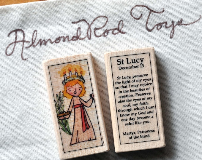 St Lucy Patron Saint Block // Advent // Catholic Toys by AlmondRod Toys