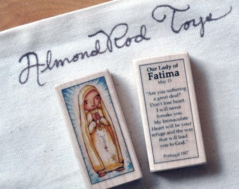 St Mary, Our Lady of Fatima Patron Saint Block //// Catholic Toys by AlmondRod Toys