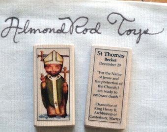 St Thomas Becket Patron Saint Block //// Catholic Toys by AlmondRod Toys