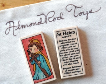 St Helen or St Helena Patron Saint Block // Catholic Toys by AlmondRod Toys