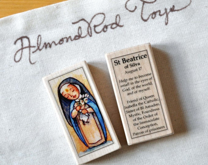 St Beatrice of Silva Patron Saint Block // Catholic Toys by AlmondRod Toys