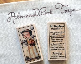 St Stephen Patron Saint Block // Catholic Toys by AlmondRod Toys