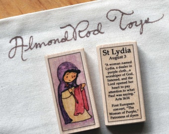 St Lydia of the New Testament Patron Saint Block // First European Christian of the New Testament // Catholic Toys by AlmondRod Toys