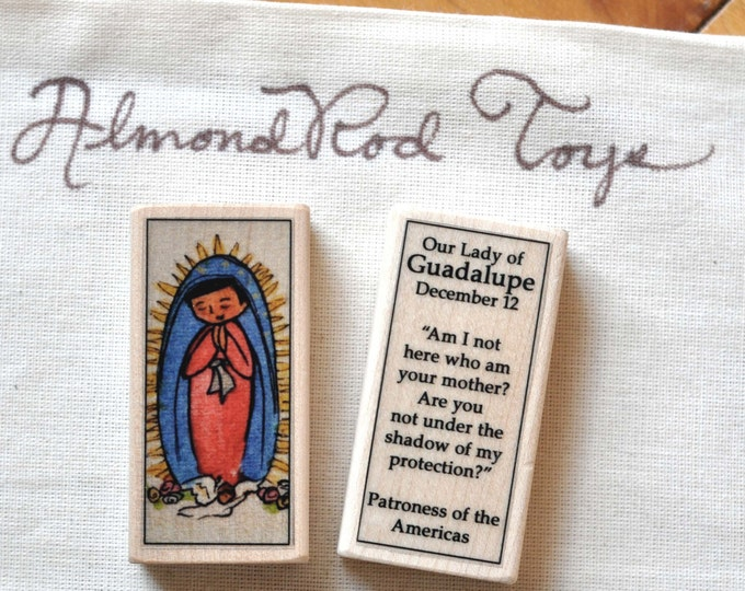 St Mary, Our Lady of Guadalupe Patron Saint Block // Catholic Toys by AlmondRod Toys