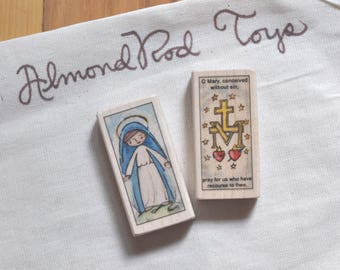 St Mary of the Miraculous Medal Patron Saint Block // Catholic Toys by AlmondRod Toys