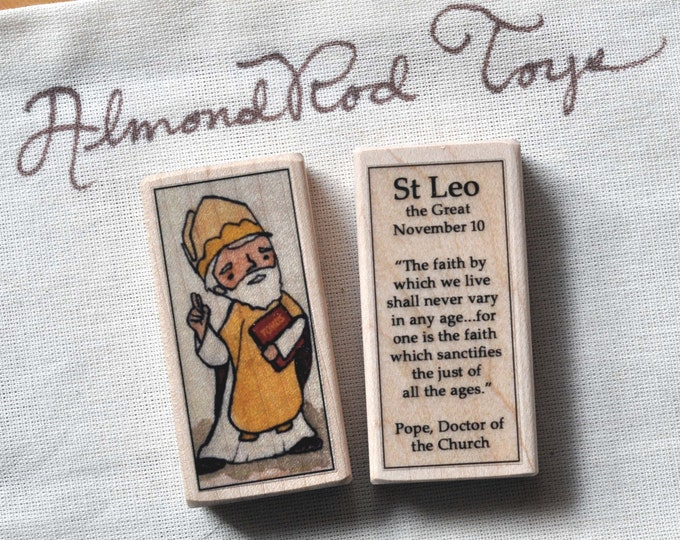St Leo the Great Patron Saint Block // Pope // Catholic Toys by AlmondRod Toys