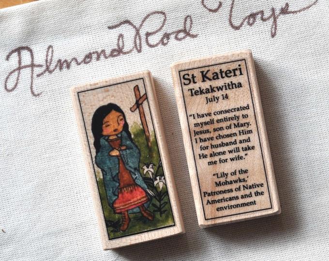 St Kateri Tekakwitha Patron Saint Block // 100+ Catholic Saints to choose from // Catholic girl