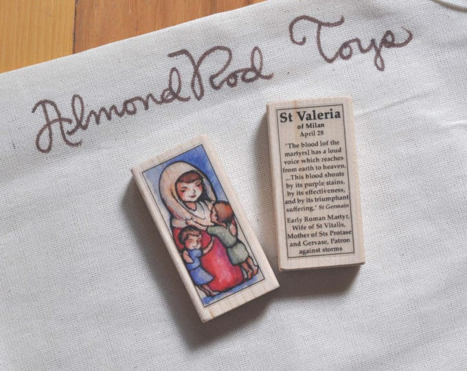 St Valeria of Milan Patron Saint Block // mother of twin saints // Catholic Toys by AlmondRod Toys