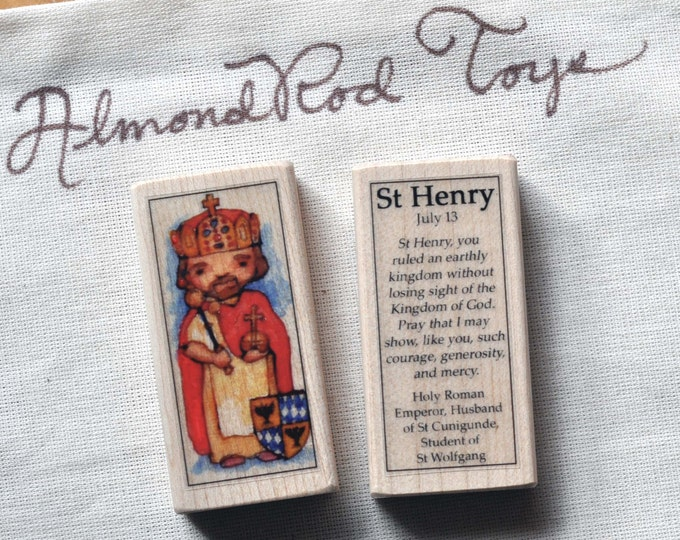 St Henry Patron Saint Block // 100+ Saints to choose from // Catholic boy gift // Catholic toy