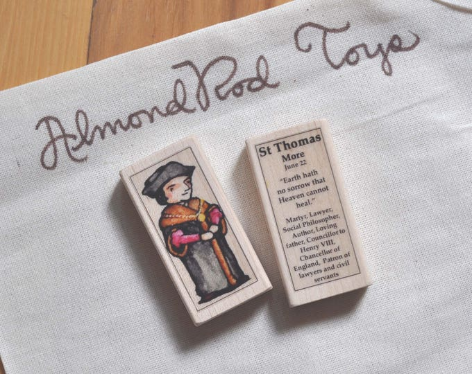St Thomas More Patron Saint Block // Patron of lawyers // Catholic Toys by AlmondRod Toys