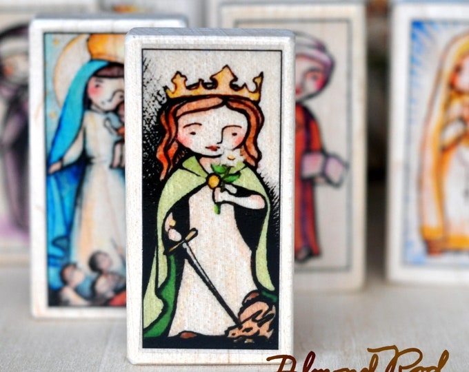5 Patron Saint blocks of your choice // 150+ to choose from // Catholic toys by AlmondRod Toys