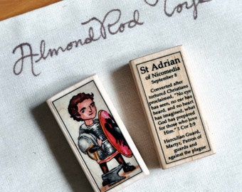 St Adrian of Nicomedia Patron Saint Block // Catholic Toys by AlmondRod Toys