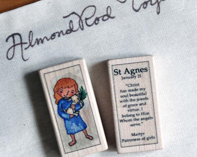 St Agnes Patron Saint Block // Catholic Toys by AlmondRod Toys