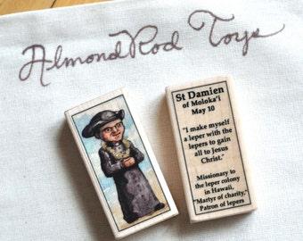 St Damien of Molokai Patron Saint Block // Catholic Toys by AlmondRod Toys