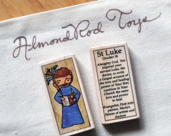 St Luke the Evangelist Patron Saint Block // Gospel writer // by AlmondRod Toys