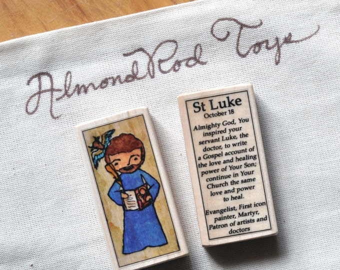 St Luke the Evangelist Patron Saint Block // Gospel writer // by AlmondRod Toys