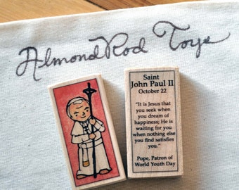 St John Paul II Patron Saint Block // JP II // Catholic Toys by AlmondRod Toys