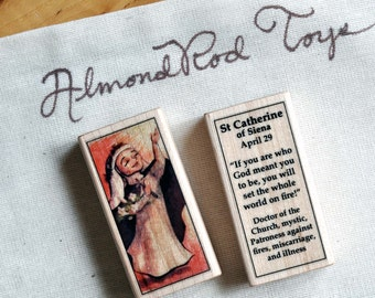 St Catherine of Siena Patron Saint Block // Catholic Toys by AlmondRod Toys