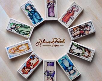 15 Patron Saint Blocks of your choice // 150+ saints to choose from // Catholic Toys by AlmondRod Toys