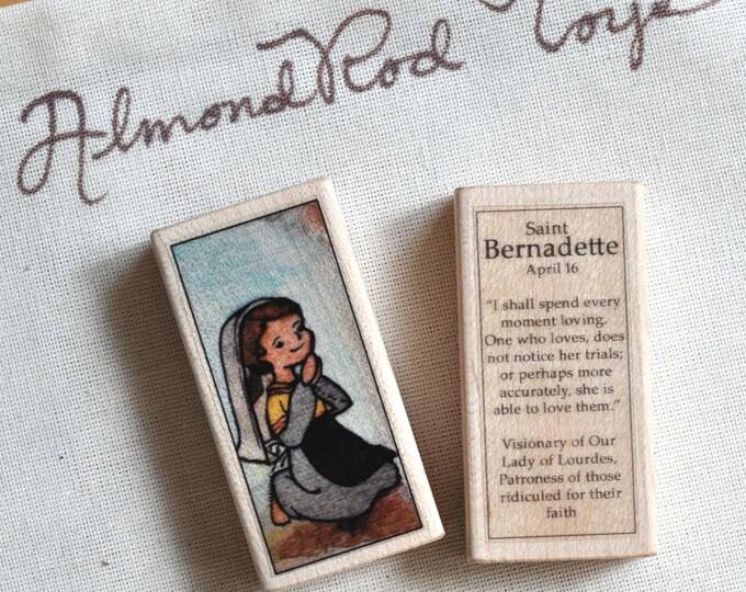 St Bernadette Patron Saint Block // Catholic Toys by AlmondRod Toys