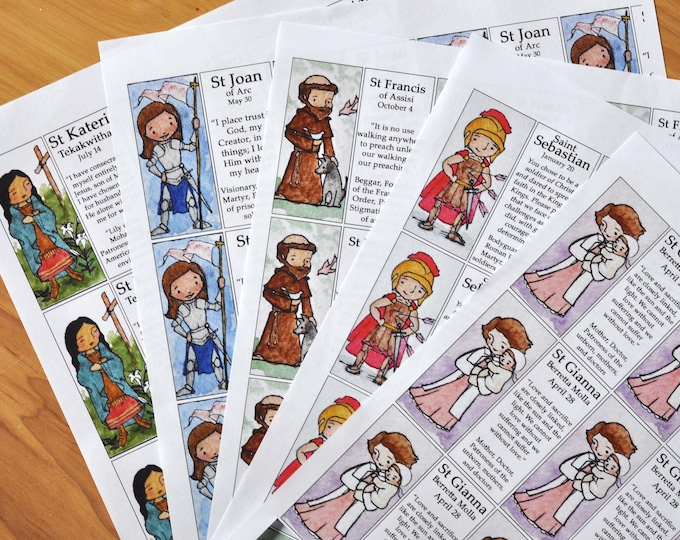 2 Saint Craft Sheets of your choice (100+ saints to choose from) // decoupage toys // Catechesis of the good shepherd