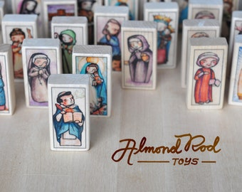 30 Patron Saint Blocks of your choice // 150+ to choose from // Catholic Toys by AlmondRod Toys