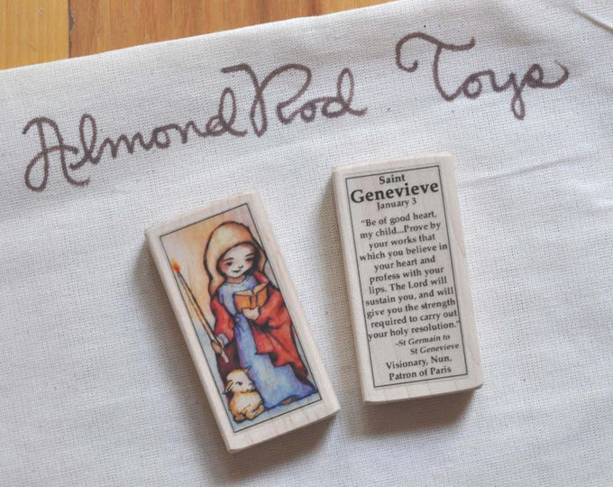 St Genevieve Patron Saint Block - Catholic Patron of Paris // Catholic Toys by AlmondRod Toys