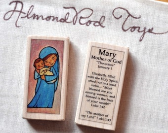 St Mary, Mother of God Patron Saint Block // Catholic Toys by AlmondRod Toys