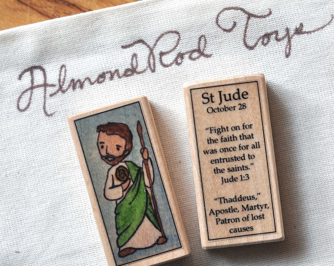 St Jude Patron Saint Block // Patron of lost causes // Catholic Toys by AlmondRod Toys