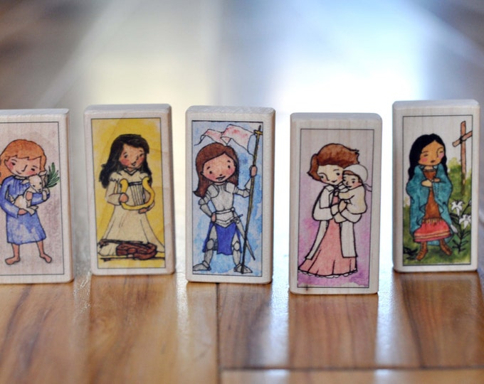5 Saint Blocks--Girls' Favorites - Saints Joan of Arc, Cecilia, Agnes, Kateri, and Gianna