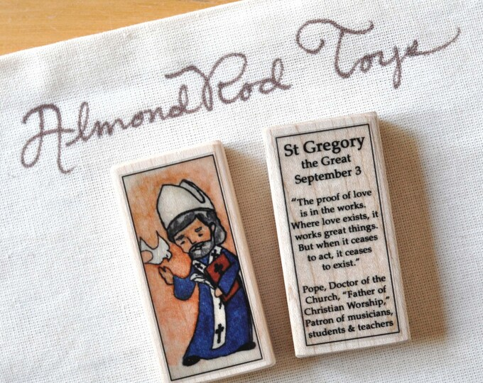 St Gregory the Great Patron Saint Block // patron of musicians // Catholic Toys by AlmondRod Toys