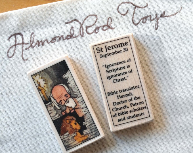 St Jerome Patron Saint Block // Scripture // Catholic Toys by AlmondRod Toys