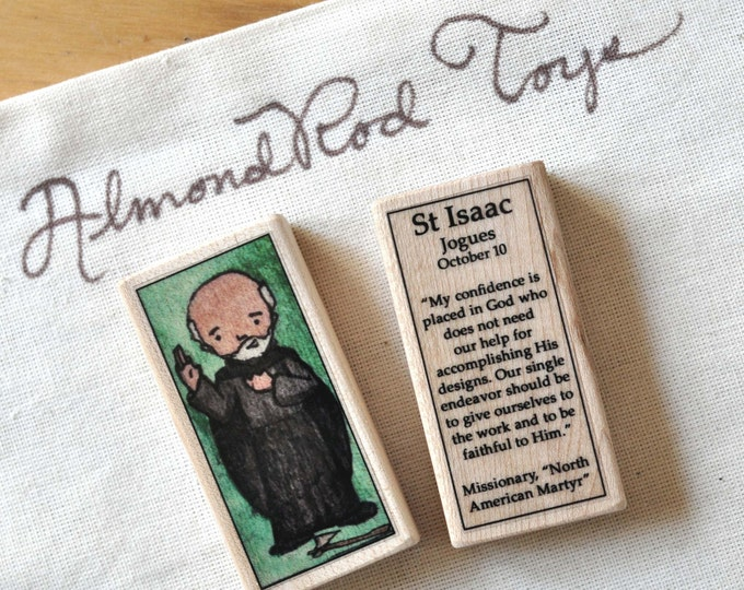 St Isaac Jogues Patron Saint Block // North Amreican Martyr // Catholic Toys by AlmondRod Toys