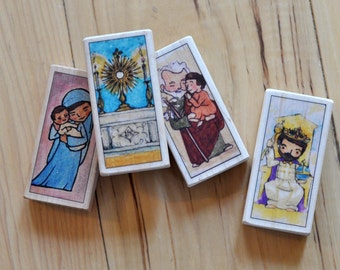 4 Patron Saint blocks of your choice // Catholic gift // Catholic toys by AlmondRod Toys